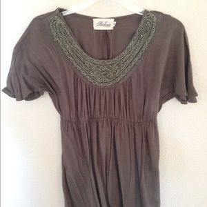 Taupe/ olive Top